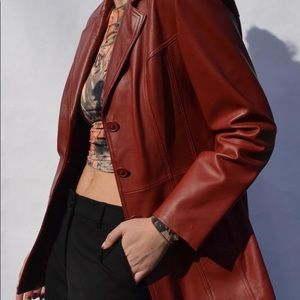 Vintage Cherry Red Leather Jacket sz Small